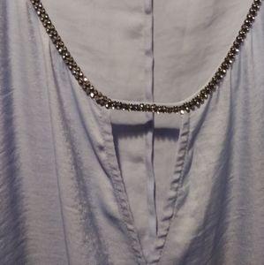 Sleeveless rhinestone embellished blouson top